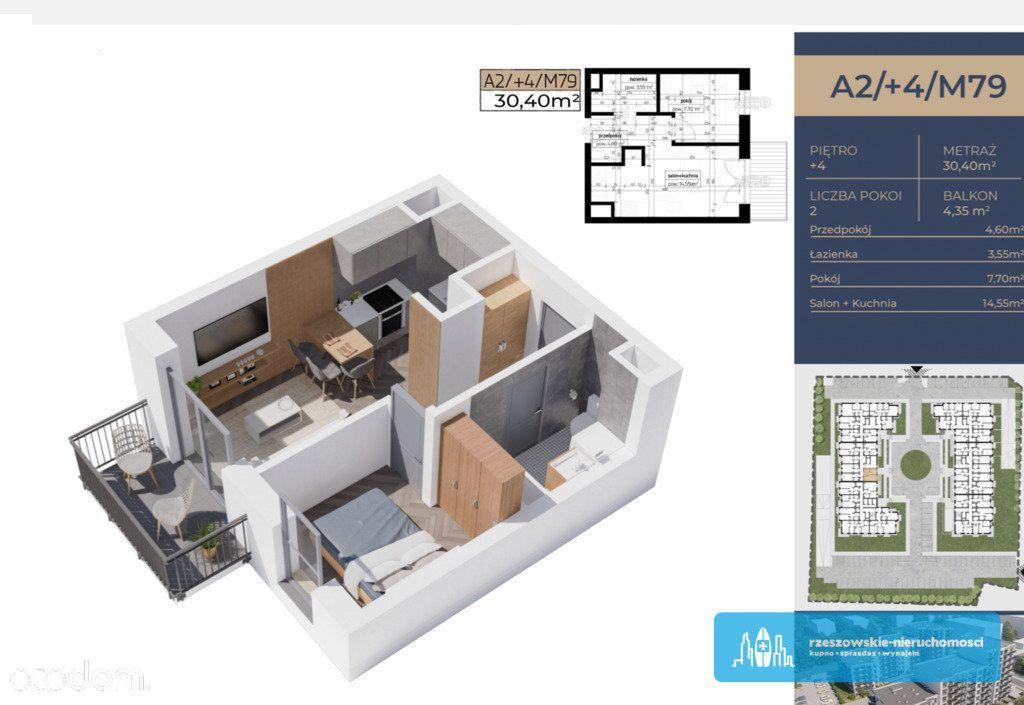 Kawalerka/dwa pokoje 30,39 m2 Architektów