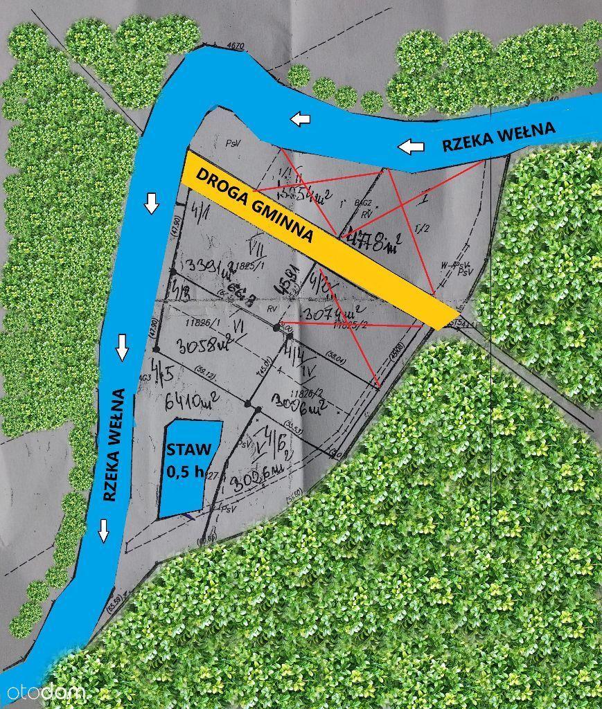 Działku przy rzece Wełnie, malowniczo położone
