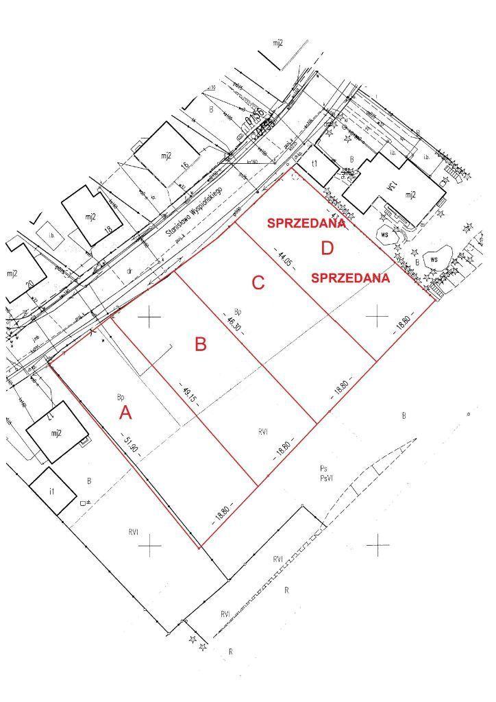 Działki 808-906 m2, ul. Wyspiańskiego(ul.Szczotki)