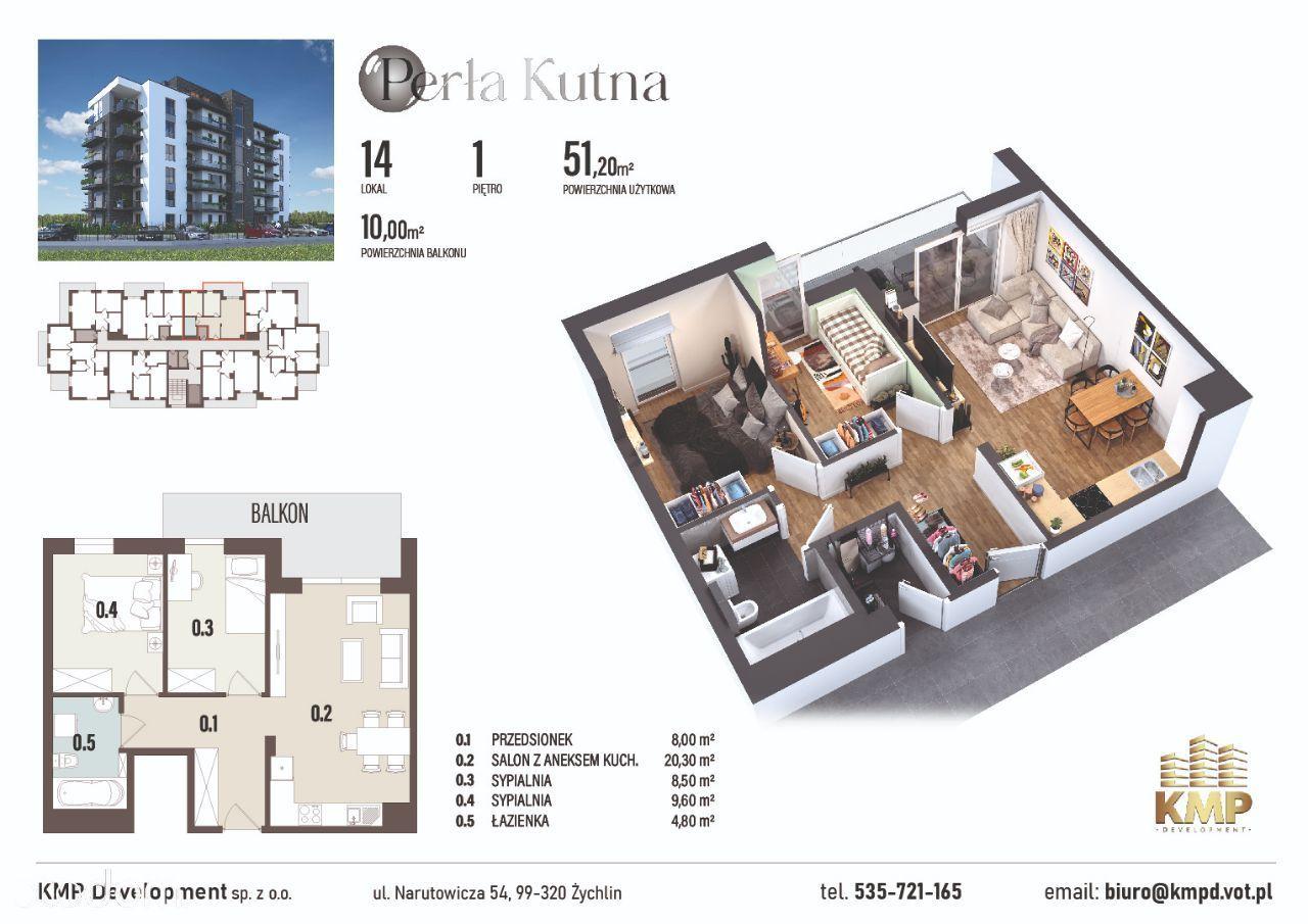 Mieszkanie 51,20m2 - 3 pokoje + balkon 10m2!