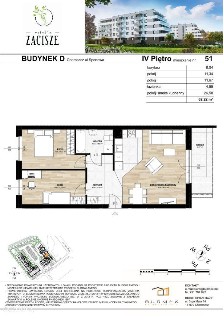 Osiedle Zacisze piękne mieszkanie 3 pokoje balkon