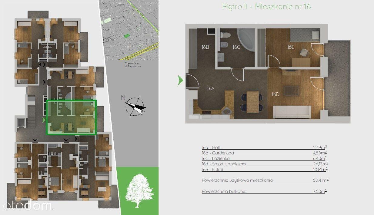 Mieszkanie, 50,41 m², Częstochowa