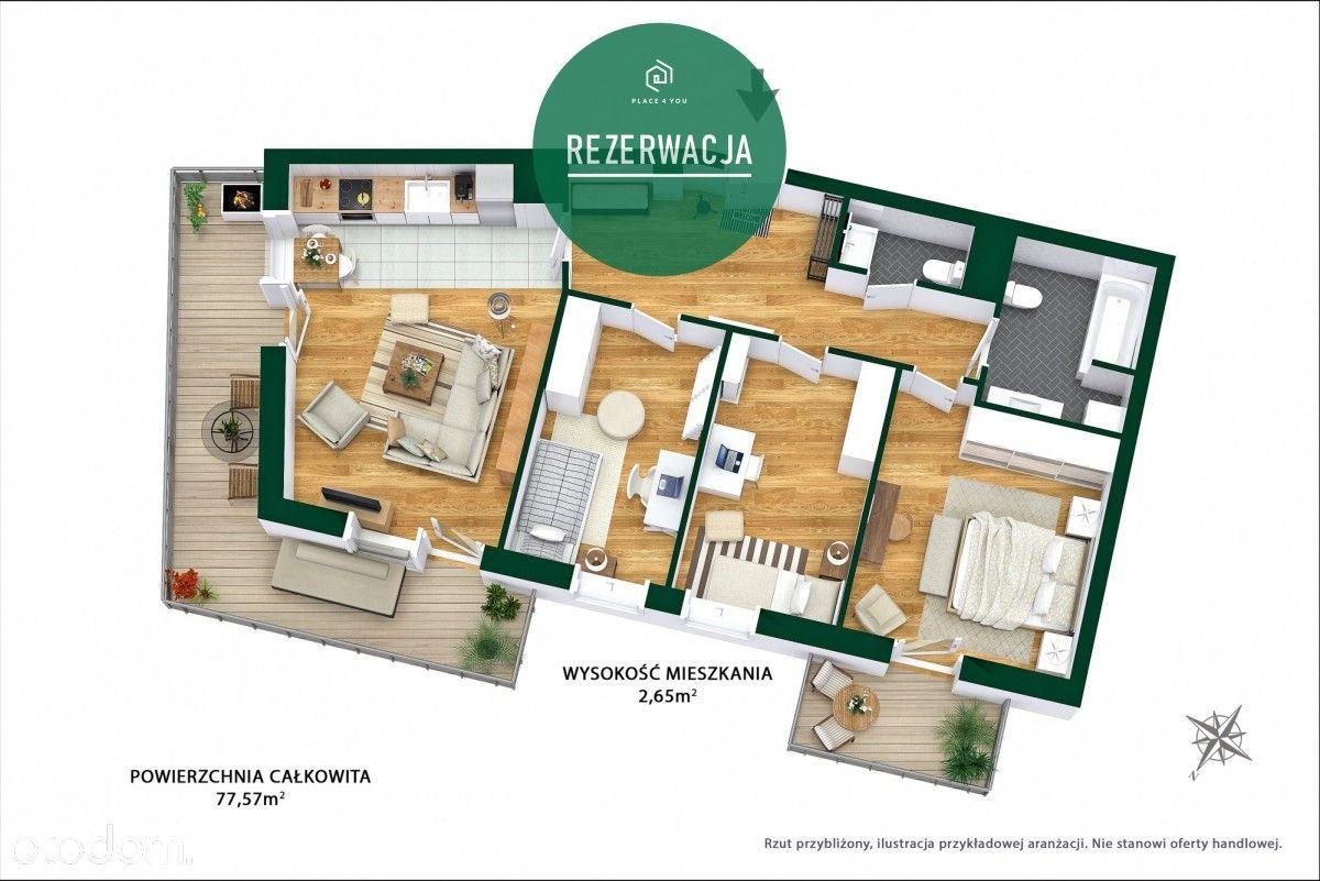 Nowe mieszkanie 4pok z dwoma balkonami 16m i 4,5m