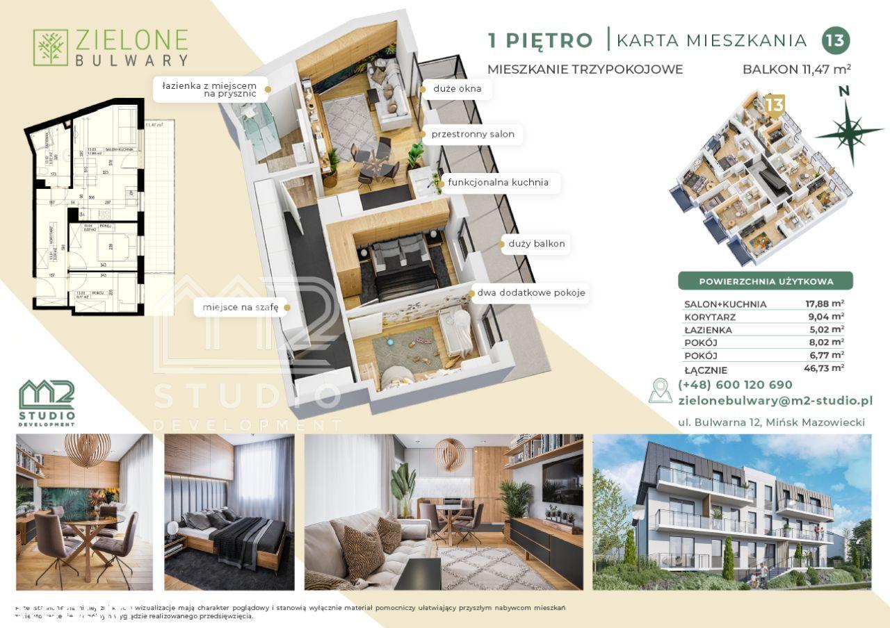 Zielone Bulwary w Mińsku, 3-pokoje 47m2 w centrum