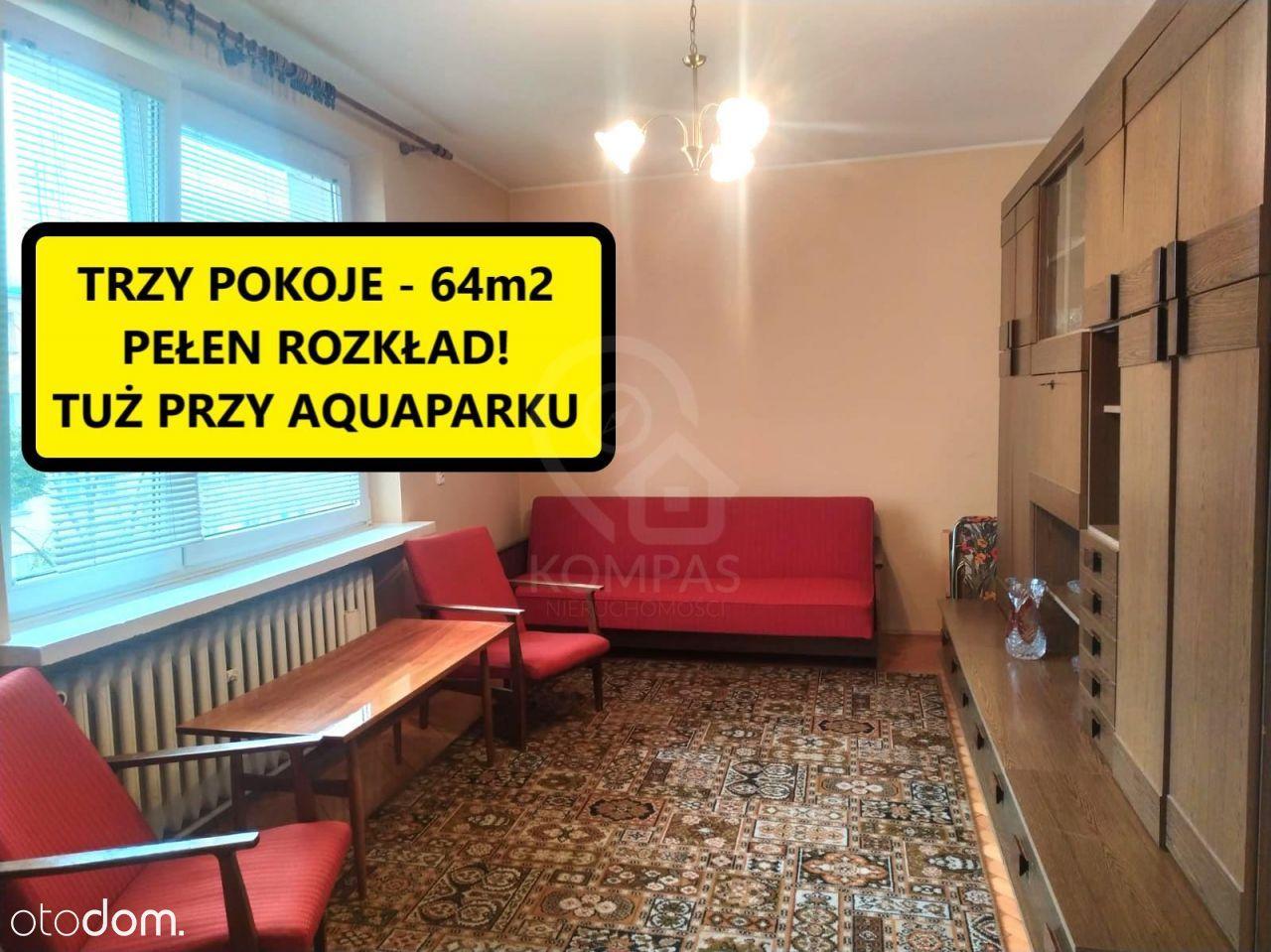 Trzy pokoje mieszkanie przy Borowskiej 64m2