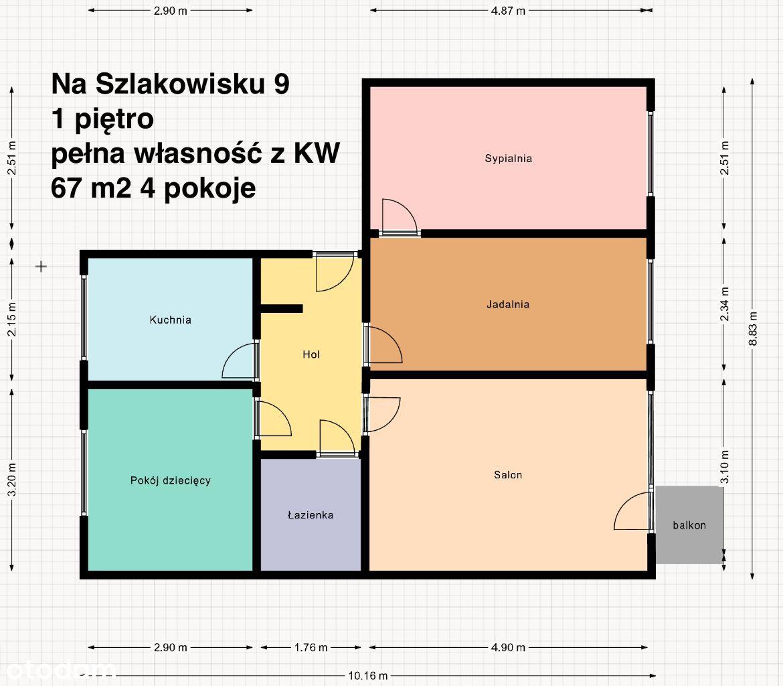 4 pokoje 67m2, 1 piętro, KW, ul. Na Szlakowisku