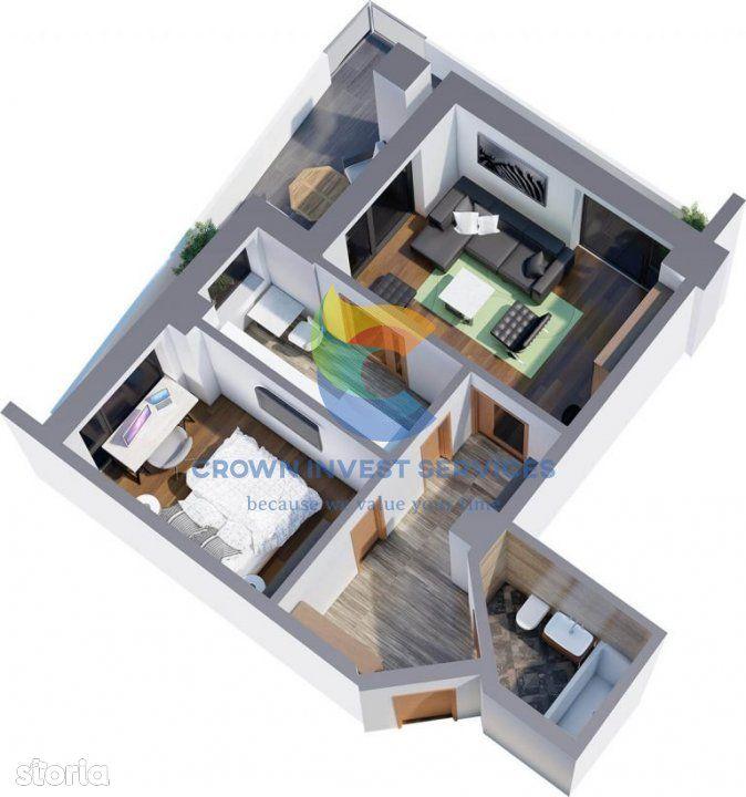Apartament 2 camere, Tatarasi, bloc nou, etaj 7, 55mp utili, Ciric
