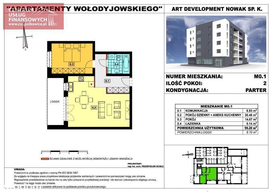 Nowe budownictwo 59,20 m2, Wołodyjowskiego, Polk