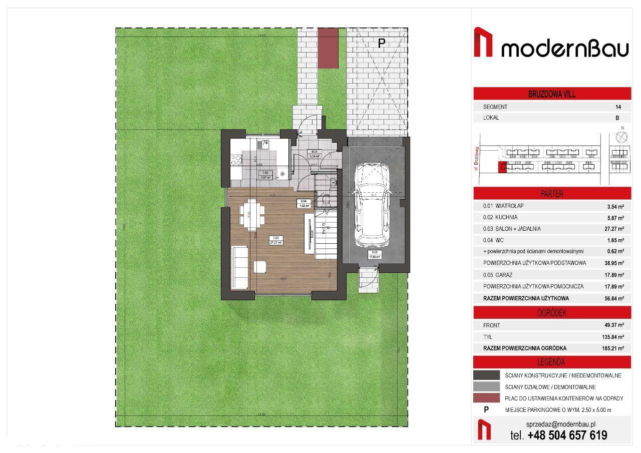 Wilanów/Zawady. Segment 148,36. Ogródek 185 m2