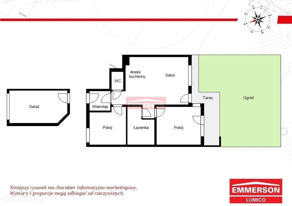 3 pokoje, duży ogród, garaż Kliny