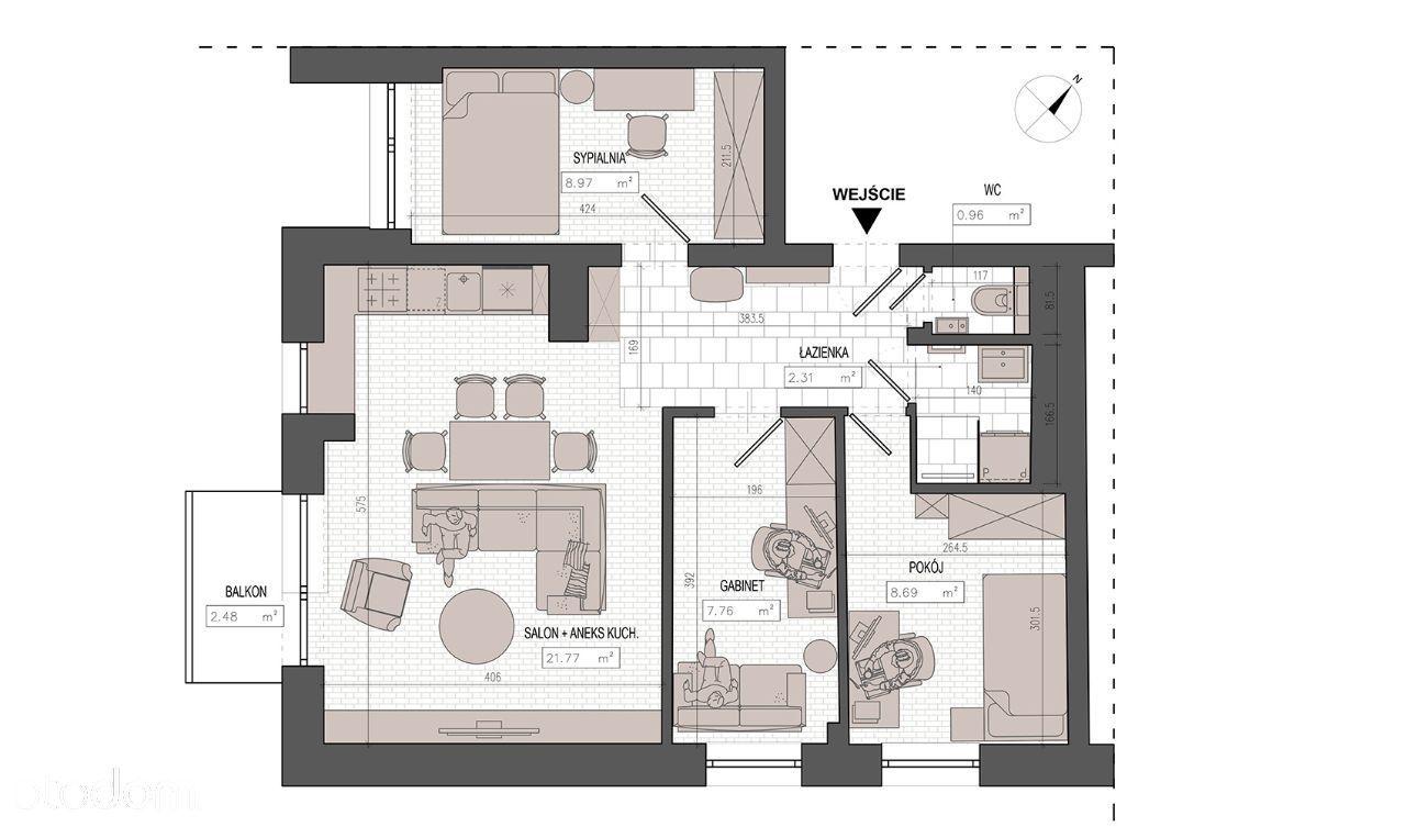 Kraków, Mazowiecka, 57 m2, 3 pokojowe, właściciel