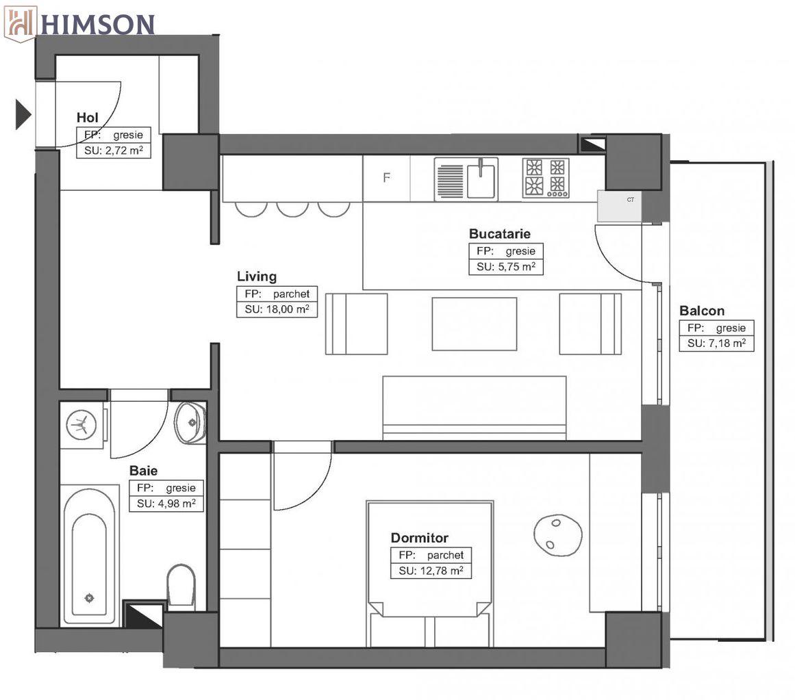 Ulimul apartament disponibil: 2 camere 51.41mp!