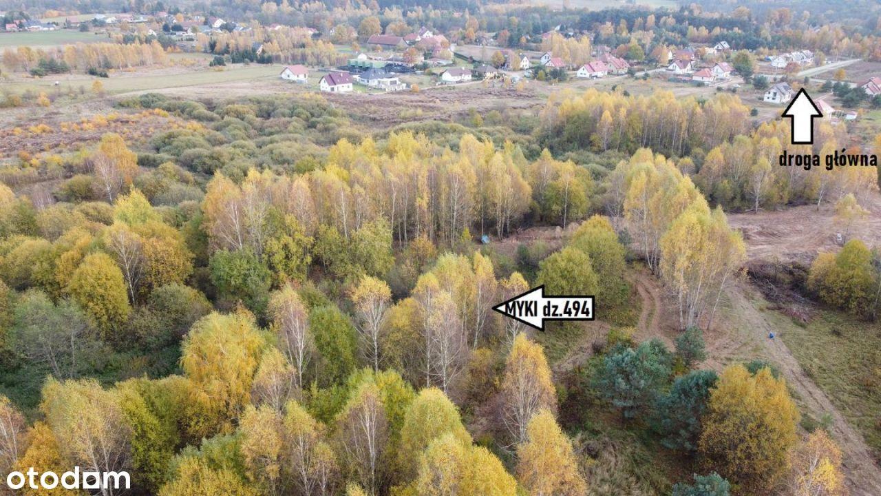 Myki, dz.494, pow.1538m2, Media! 3km od Olsztyna,