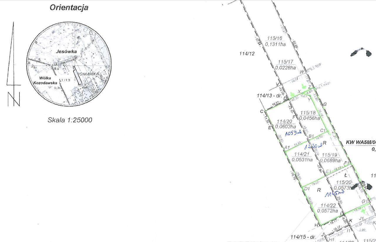 Działki budowlane 1059+1220 m2 Jesówka k/Piaseczna