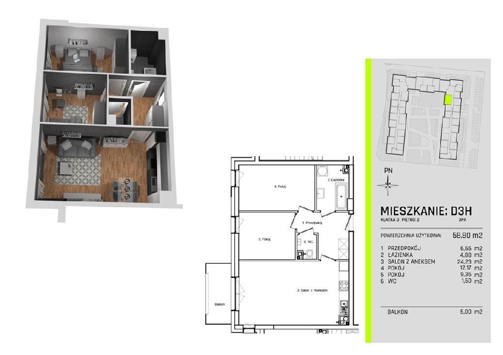 Trzy pokoje w apartamentowcu na Złotnie w otoczeni