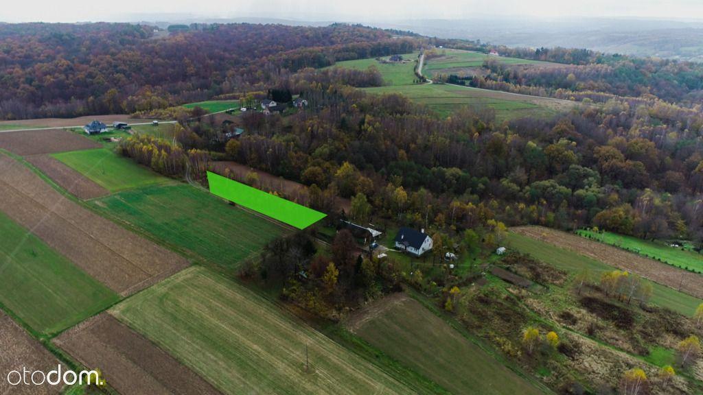 Działka widokowa w otoczeniu zieleni i zabudowań