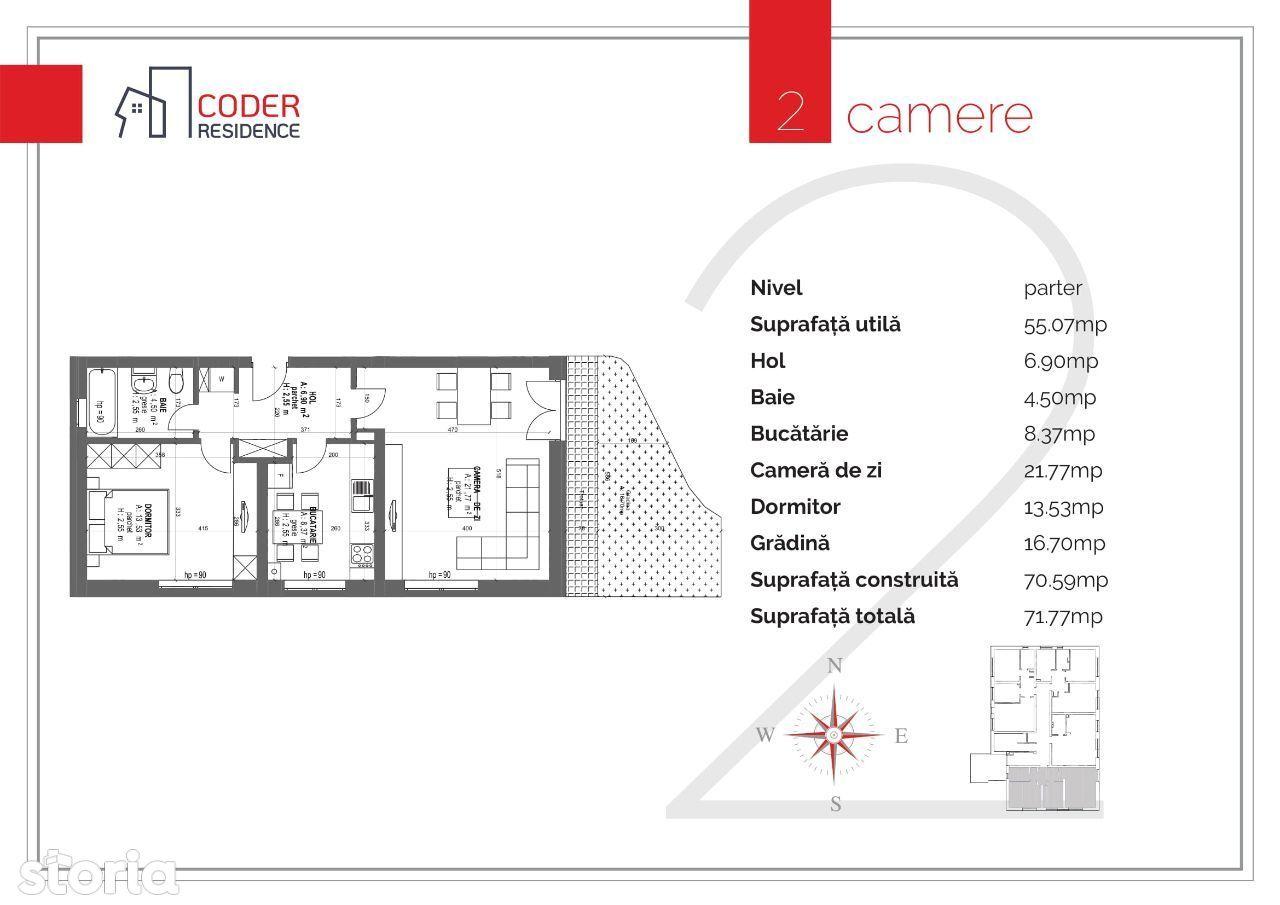 Apartament 2 camere Coder Residence 3 - cu grădină