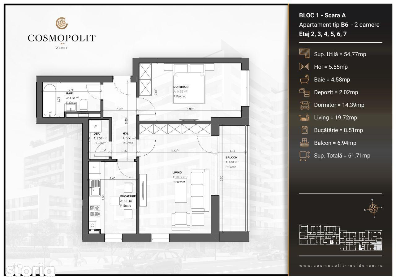 Apartament 2 camere Cosmopolit Zenit Bloc 1