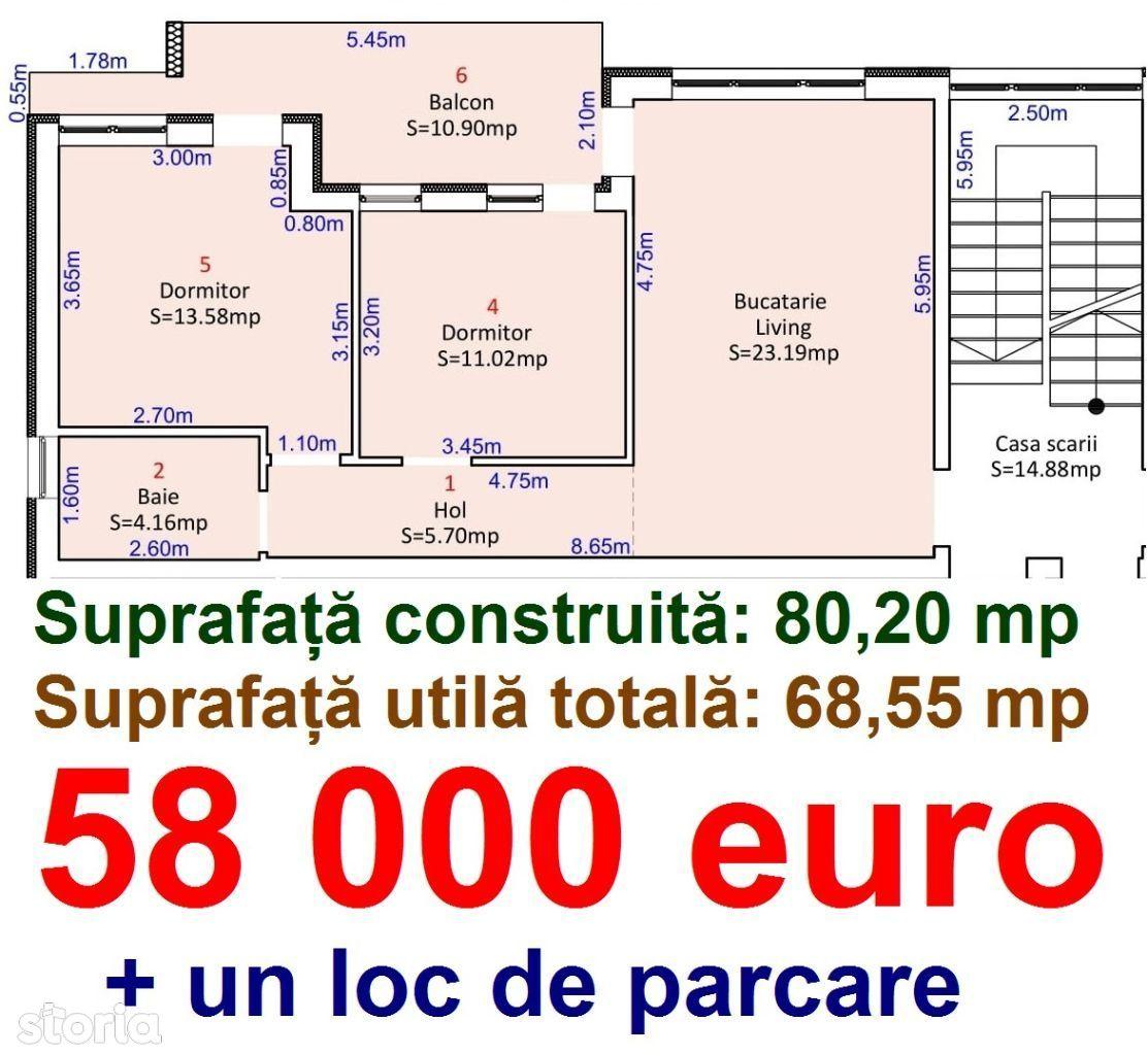 80 mpc. Apartament 3 camere Terasa Mare + loc de parcare. Milea Lidl