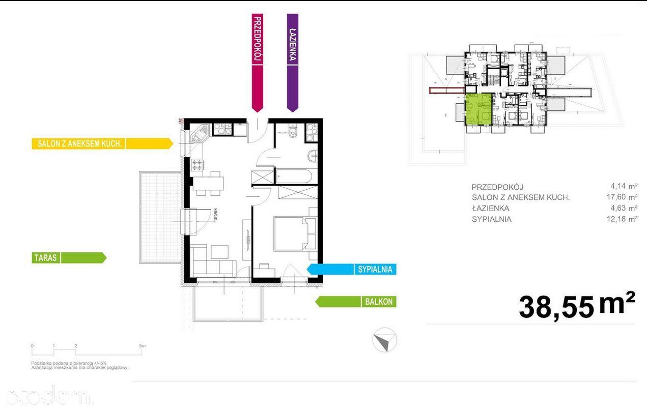 Nowoczesny Apartament 39m2, 2 pokoje + TARAS!