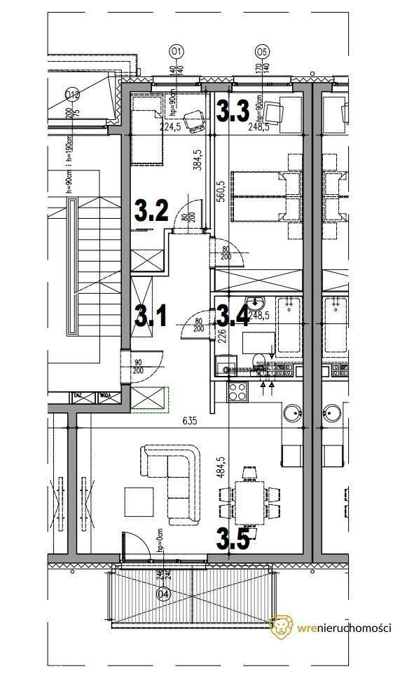 3 pokoje z balkonem Kiełczów