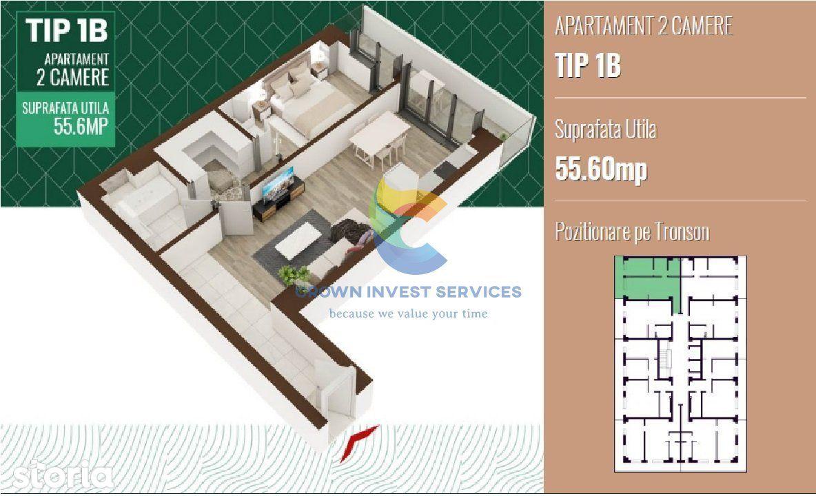 Apartament 2 camere,semidecomandat,  etajul 8, zona Sadoveanu, 55,6mp