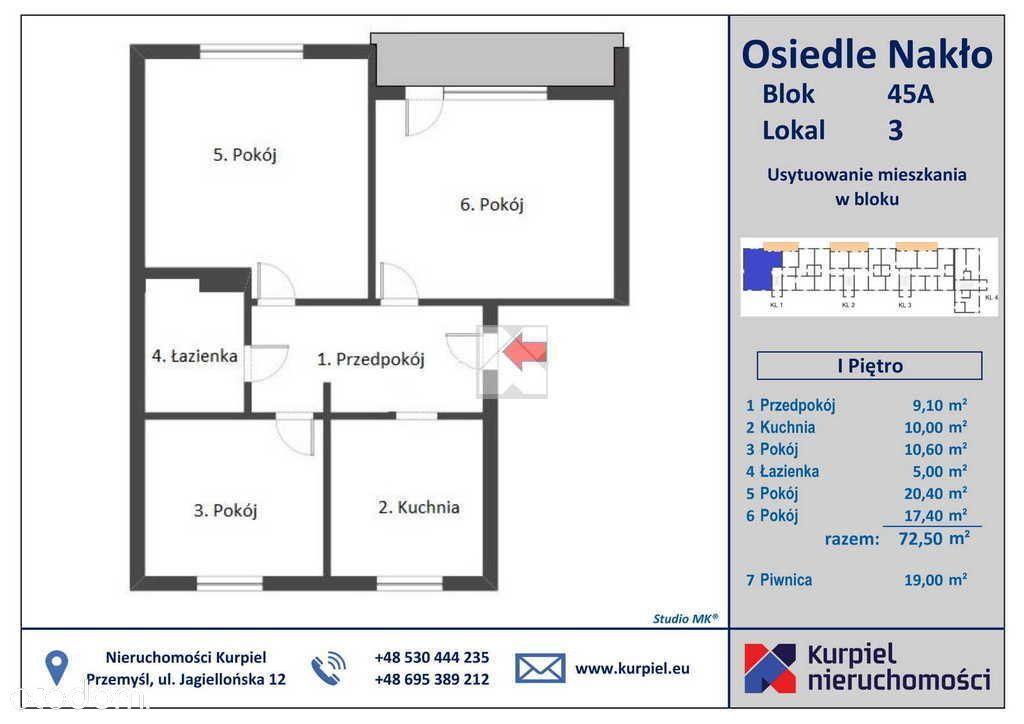 Mieszkanie, 72,50 m², Nakło
