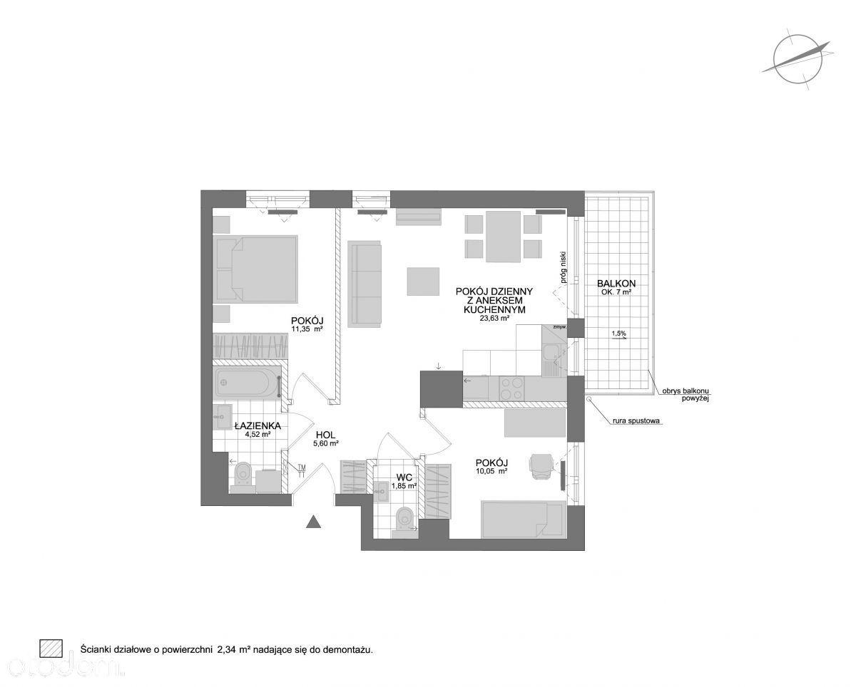 Mieszkanie 3 pok. ekspozycja południowa