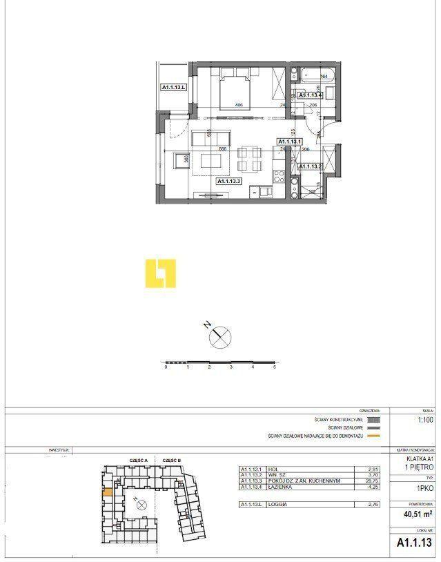Mieszkanie, 40,51 m², Szczecin