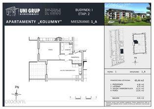 2 pokoje - Lokal A - 1 PIĘTRO budynek I - etap II