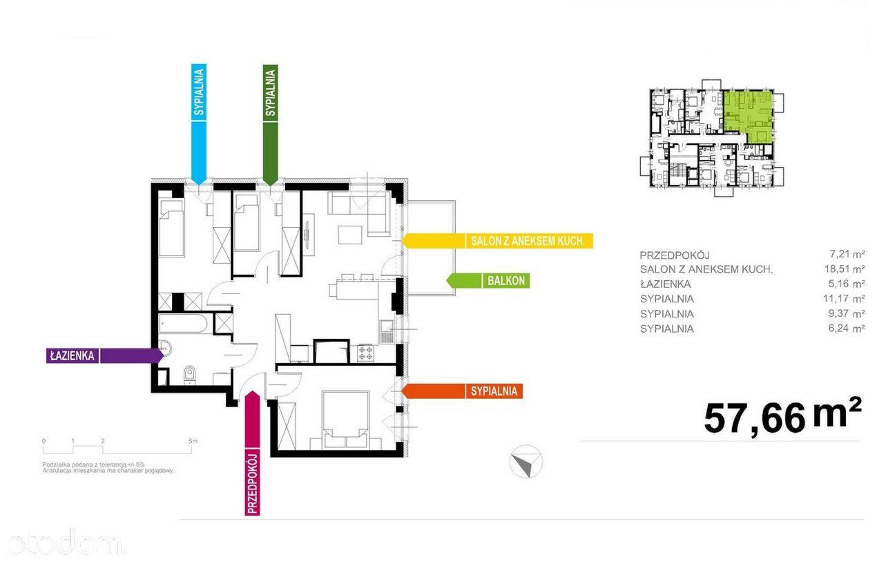 Apartament 58m2, 4 pokoje + BALKON! Wysokie Rabaty