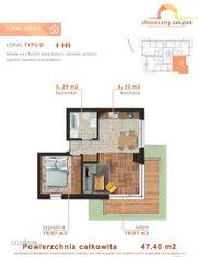 mieszkanie dwupokojowe, I piętro - 47m2 - D2