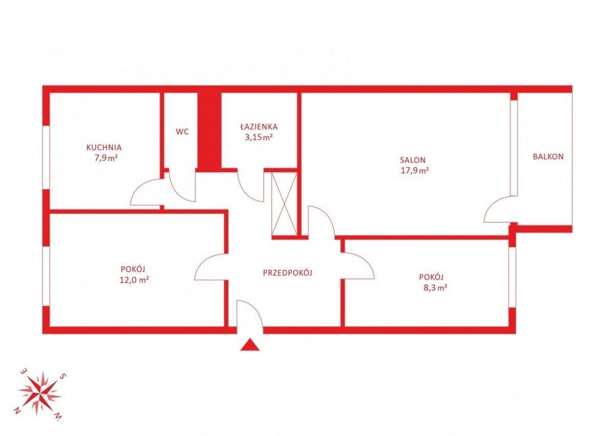 3 pokoje ( z możliwością adaptacji na 4 pokoje)
