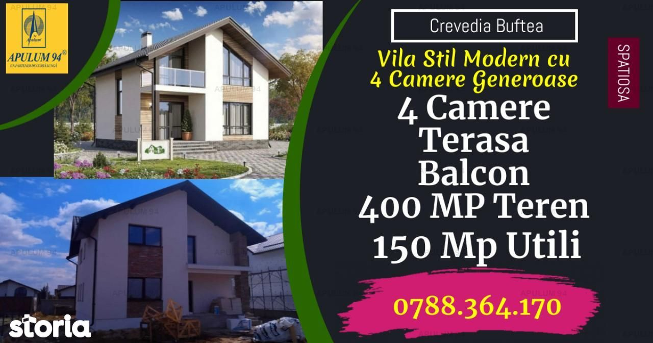 Vila Spatioasa cu 4 Camere si un teren de 400 mp in Crevedia