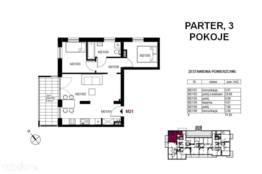 Mieszkanie od dewelopera 51,83 m2, 3 pokoje!