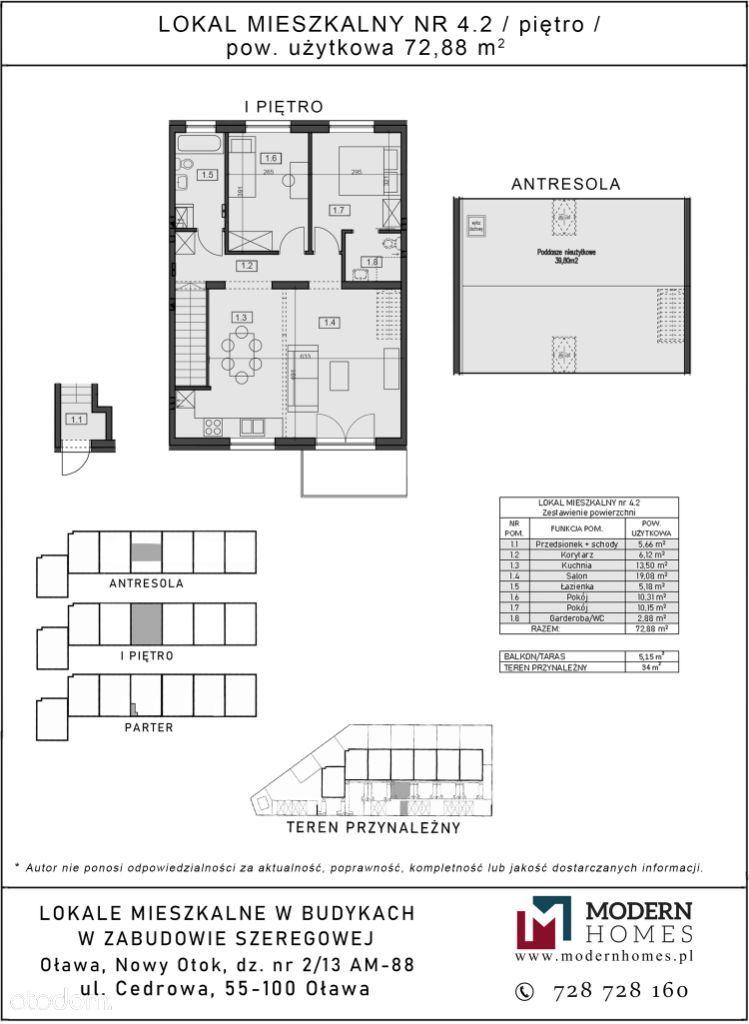Cedrowa, 3 pokoje + antresola, balkon, ogródek