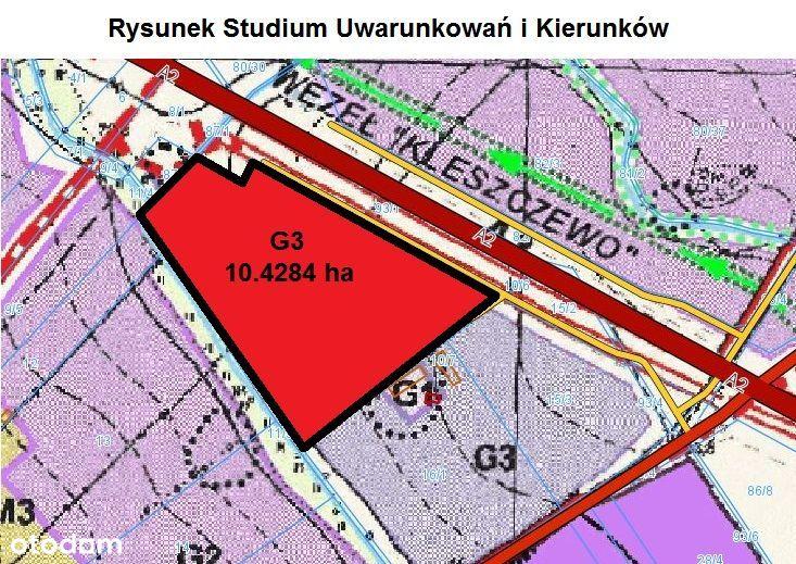10 ha przy A2, Kleszczewo. W studium AG. Tanio!