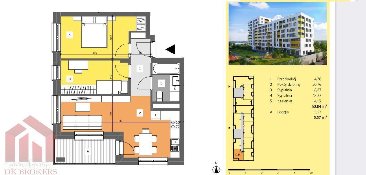 3-pokojowe mieszkanie 50,84m2 z loggią - Dworzysko