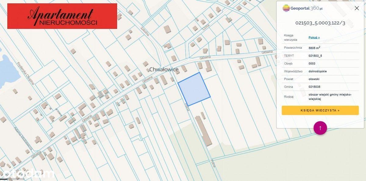 Działka 5807 m2 0,58 ha Chwałowice dla inwestora