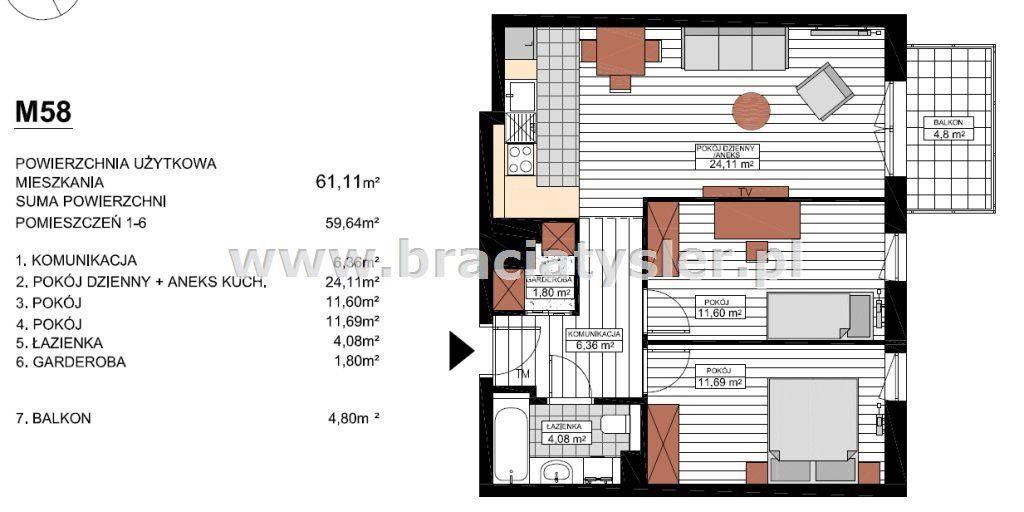 3-pokojowe mieszkanie na Wyżynach