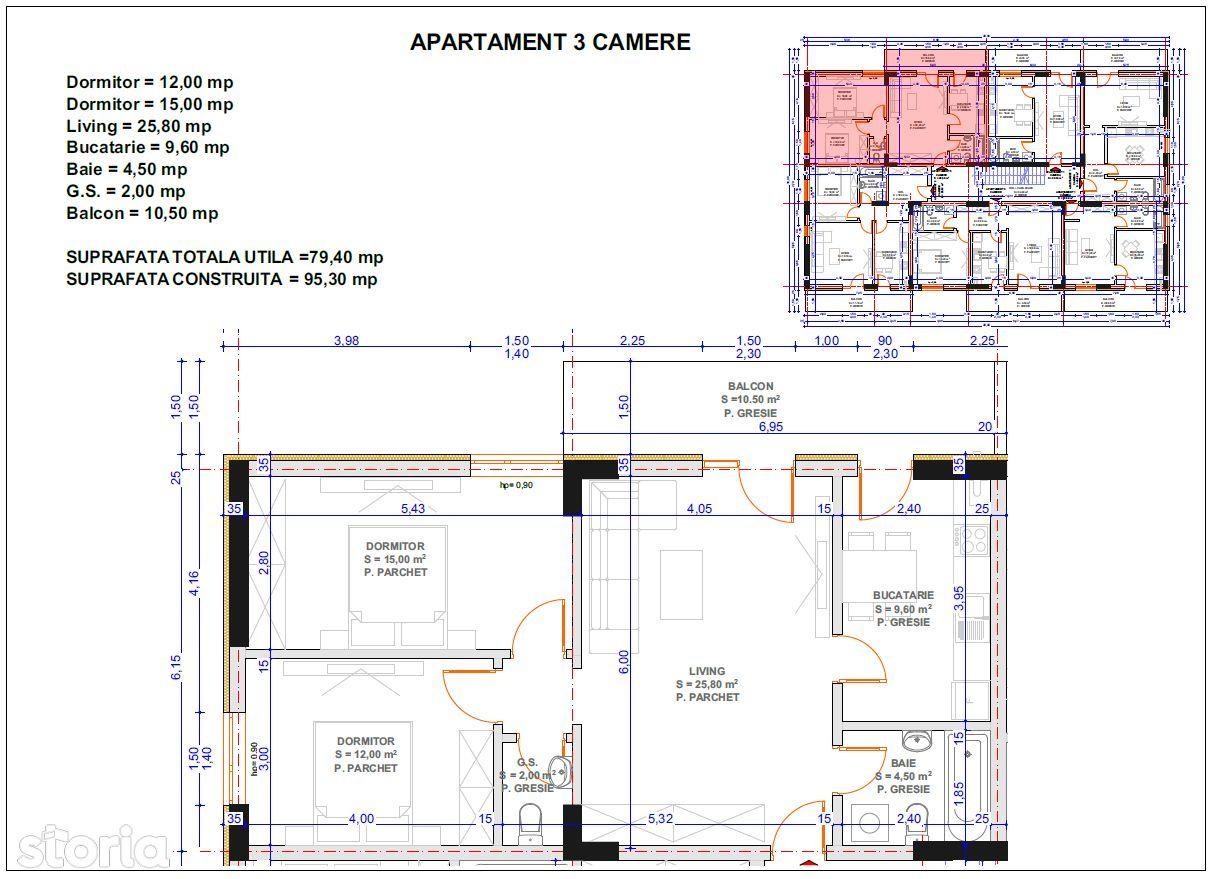 apartament 3 camere, bloc nou, central