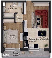 Studio la etajul 7 + boxă de depozitare inclusă în preț