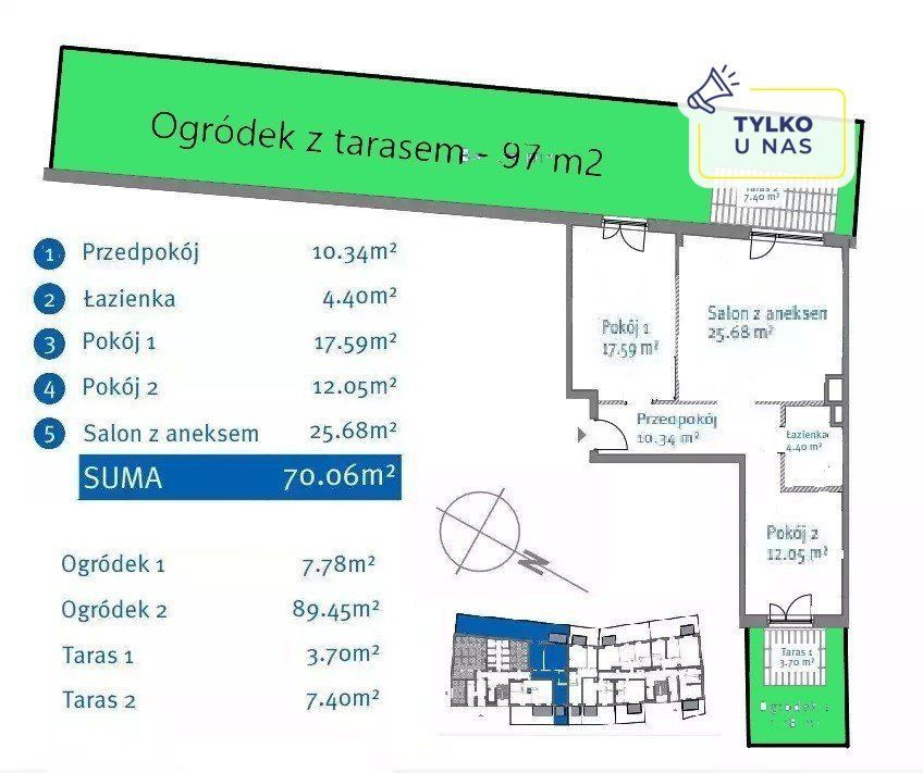 3 pok, 71m2, Bemowo, Metro, Ogródek 105 m2