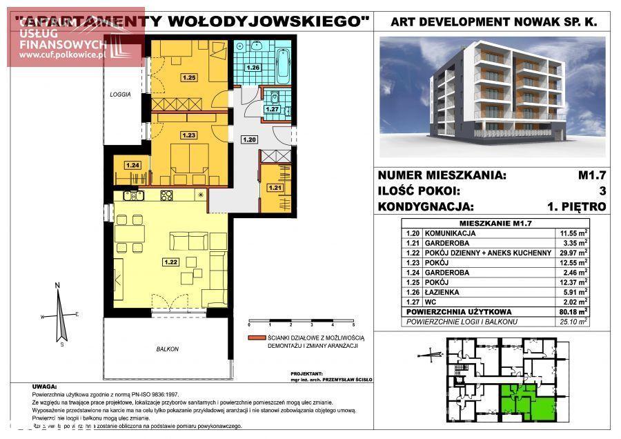 Nowe budownictwo 3 pok. 80,18 m2, Wołodyjowskieg