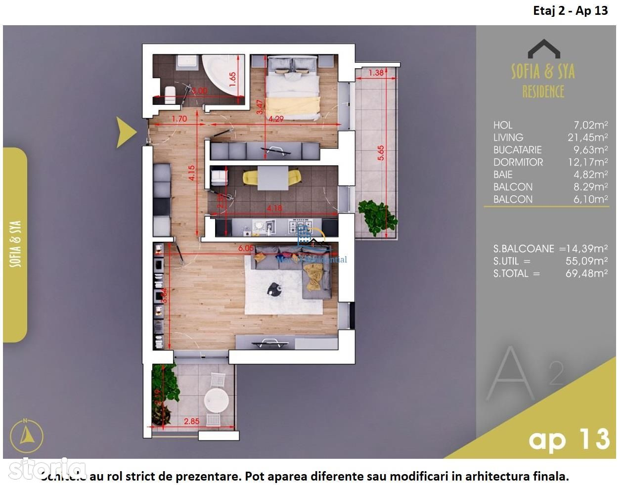 Apartament 2 camere, decomandat, metrou, parc.