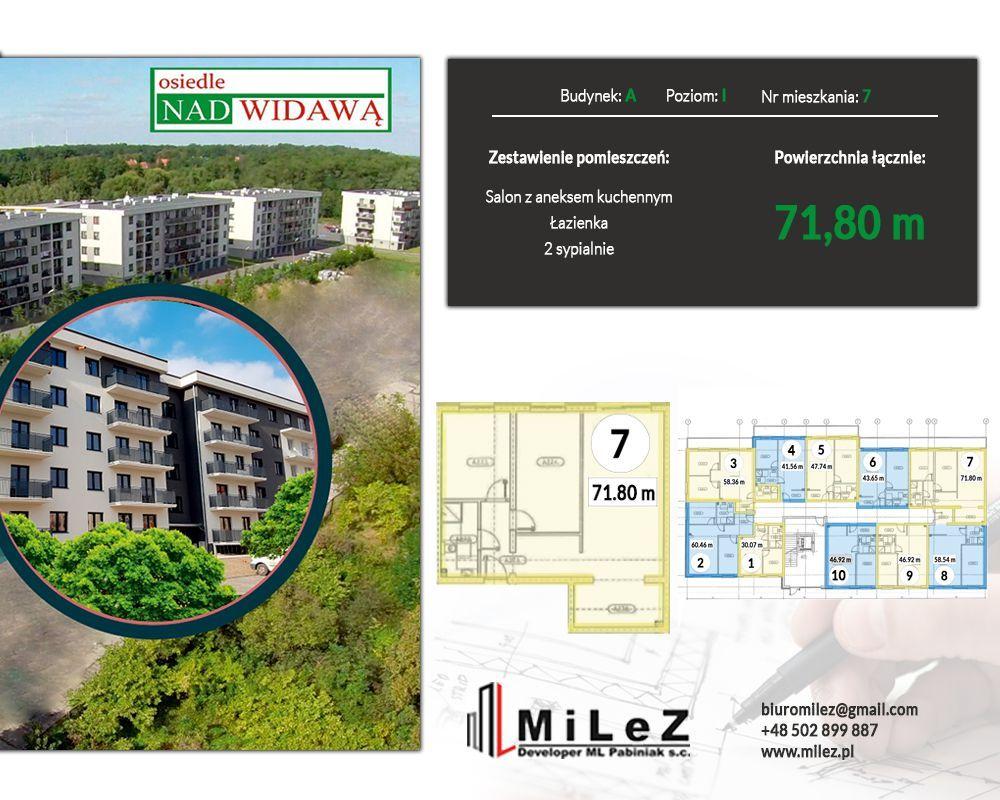 Mieszkanie 3 pokoje o pow. 71,80 m2