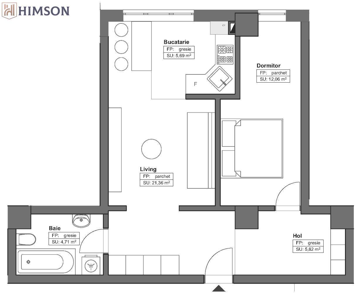 HIMSON - Apartamente 2 camere open space cu ferestre cortina