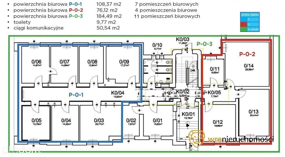 Powierzchnia biurowa 184 m2 11 pomieszczeń
