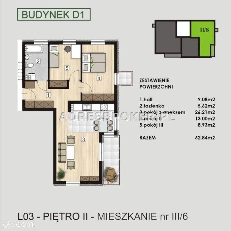 Mieszkanie, 62,84 m², Knurów
