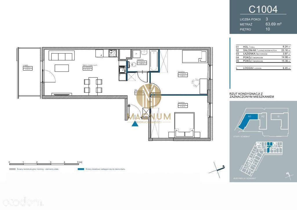 Nowe 3-pokojowe mieszkanie z widokiem